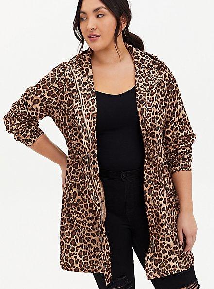 Plus Size Leopard Nylon Hooded Longline Rain Jacket, LEOPARDS-BROWN, hi-res
