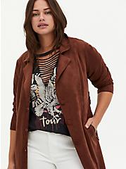 Chocolate Brown Faux Suede Longline Trench Jacket, BRUNETTE, alternate