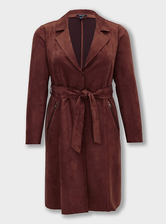 Chocolate Brown Faux Suede Longline Trench Jacket, , flat