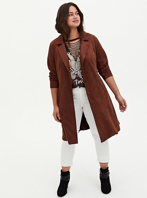 Chocolate Brown Faux Suede Longline Trench Jacket, BRUNETTE, hi-res