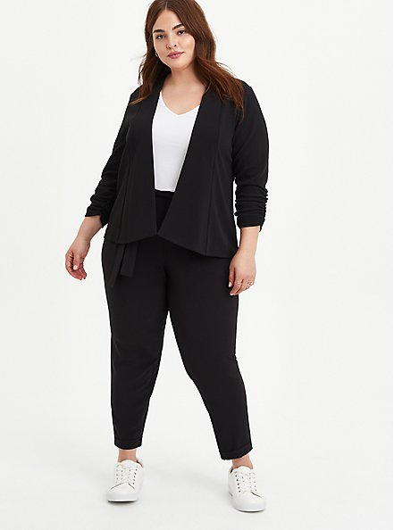 Black Crepe Drape Front Blazer, DEEP BLACK, alternate