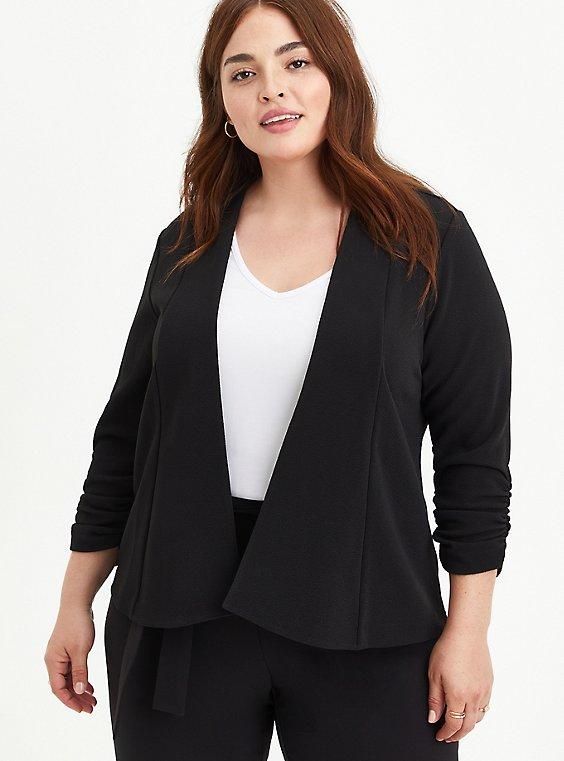 Black Crepe Drape Front Blazer, , hi-res