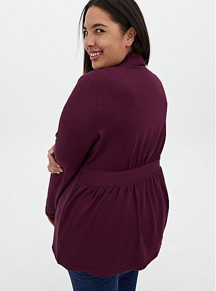 Burgundy Purple Knit Self-Tie Jacket, WINETASTING, alternate