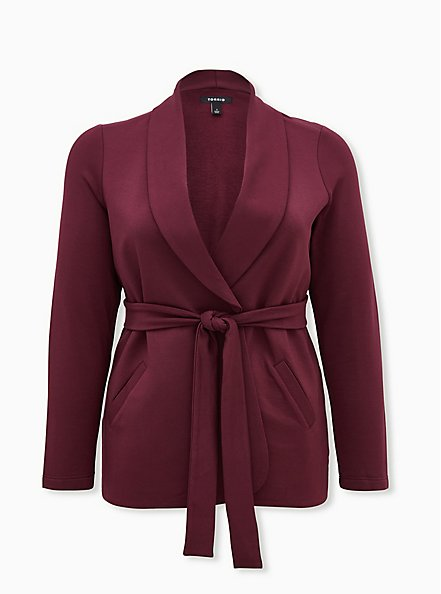 Burgundy Purple Knit Self-Tie Jacket, WINETASTING, hi-res