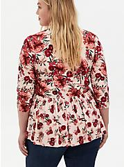 Light Pink Floral Knit Crepe Babydoll Jacket, FLORALS-RED, alternate
