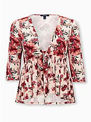Light Pink Floral Knit Crepe Babydoll Jacket, FLORALS-RED, hi-res