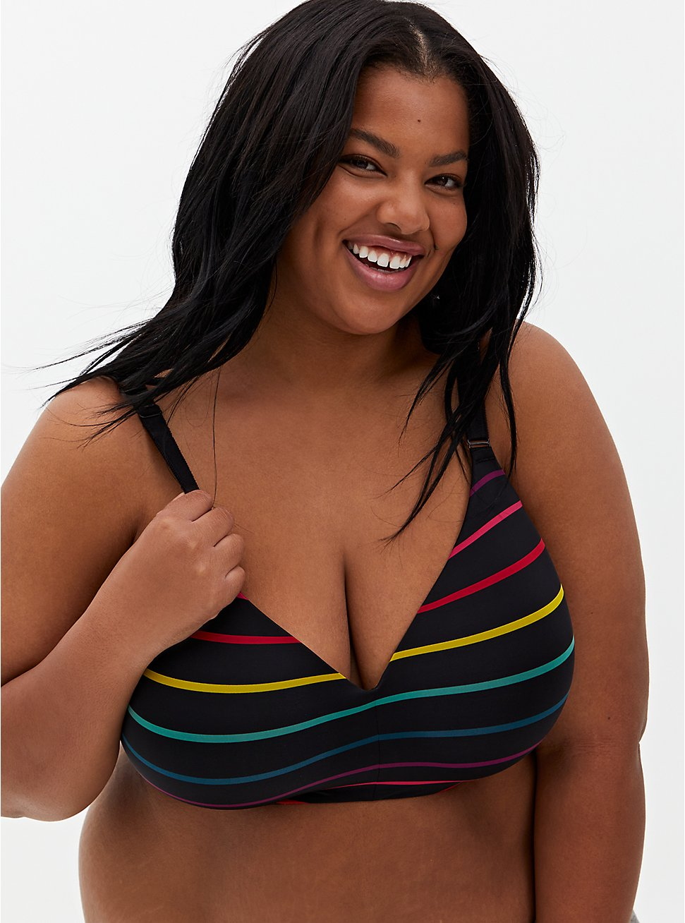 Black Stripe 360° Back Smoothing™ Lightly Lined Everyday Wire-Free Bra, , hi-res