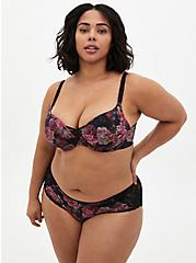 Plus Size Black Floral 360° Back Smoothing™ XO Push-Up Plunge Bra, ROSANNE FLORAL, hi-res