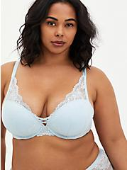 Baby Blue Lace XO Push-Up Plunge Bra , , fitModel1-hires