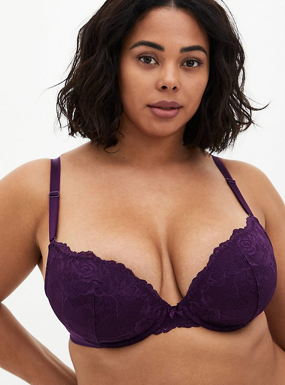 Dark Purple Lace 360° Back Smoothing™ Push-Up Plunge Bra, PLUM PURPLE, hi-res