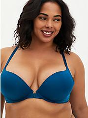 Front Closure Racerback Push-Up Plunge Bra, MOROCCAN BLUE, hi-res