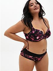 Black Floral Front Clasp 360° Back Smoothing™ Lightly Lined T-Shirt Bra, X RAY FLORAL RICH BLACK, alternate