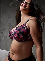 Black Floral Front Clasp 360° Back Smoothing™ Lightly Lined T-Shirt Bra, X RAY FLORAL RICH BLACK, hi-res