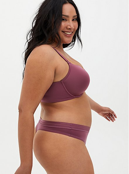 Mauve Purple Front Clasp Lightly Lined T-Shirt Bra, DRIED CRANBERRY BURGUNDY, alternate