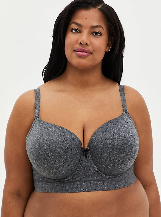 Charcoal Gray 360° Back Smoothing™ Lightly Lined Longline T-Shirt Bra , , hi-res