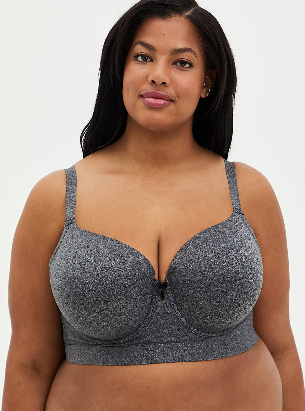 Plus Size Charcoal Gray 360° Back Smoothing™ Lightly Lined Longline T-Shirt Bra , HEATHER GREY, hi-res
