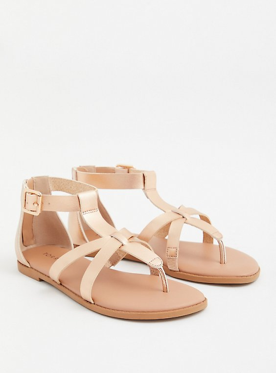 Rose Gold Faux Leather T-Strap Gladiator Sandal (WW), ROSE GOLD, hi-res