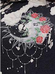 Black Bleach-Dye Fleece Moon Side Zip Tunic Hoodie , DEEP BLACK, alternate