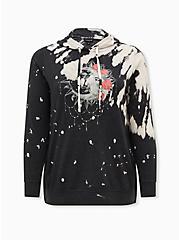 Black Bleach-Dye Fleece Moon Side Zip Tunic Hoodie , DEEP BLACK, hi-res