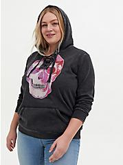 Plus Size Skull Black Mineral Wash Lace-Up Fleece Hoodie, DEEP BLACK, alternate