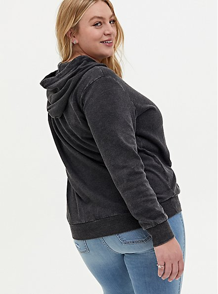 Skull Black Mineral Wash Lace-Up Fleece Hoodie, DEEP BLACK, alternate