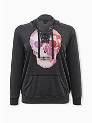 Plus Size Skull Black Mineral Wash Lace-Up Fleece Hoodie, DEEP BLACK, hi-res