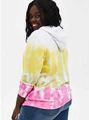 Eye Roll Multi Tie-Dye Fleece Lace-Up Hoodie, BRIGHT WHITE, alternate