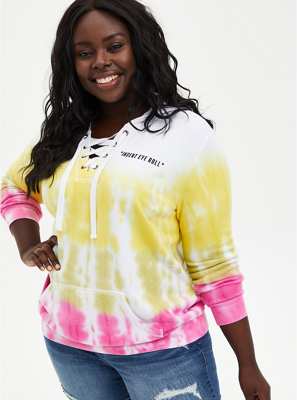 Eye Roll Multi Tie-Dye Fleece Lace-Up Hoodie, BRIGHT WHITE, hi-res