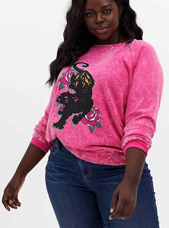 Black Panther Hot Pink Mineral Wash Fleece Sweatshirt, HOT PINK, hi-res