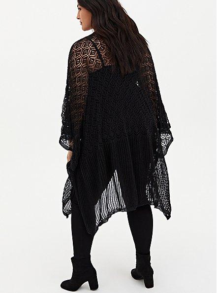 Black Open Knit Pattern Ruana, , alternate