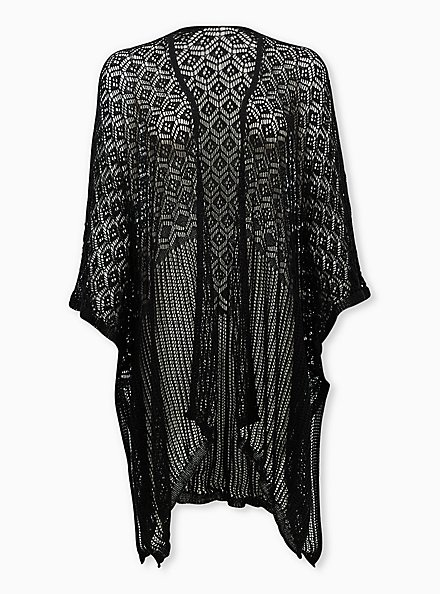 Black Open Knit Pattern Ruana, , hi-res