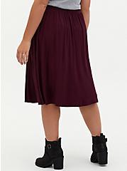 Plus Size Super Soft Burgundy Purple Button Midi Skirt , WINETASTING, alternate