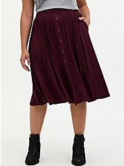 Super Soft Burgundy Purple Button Midi Skirt , WINETASTING, hi-res