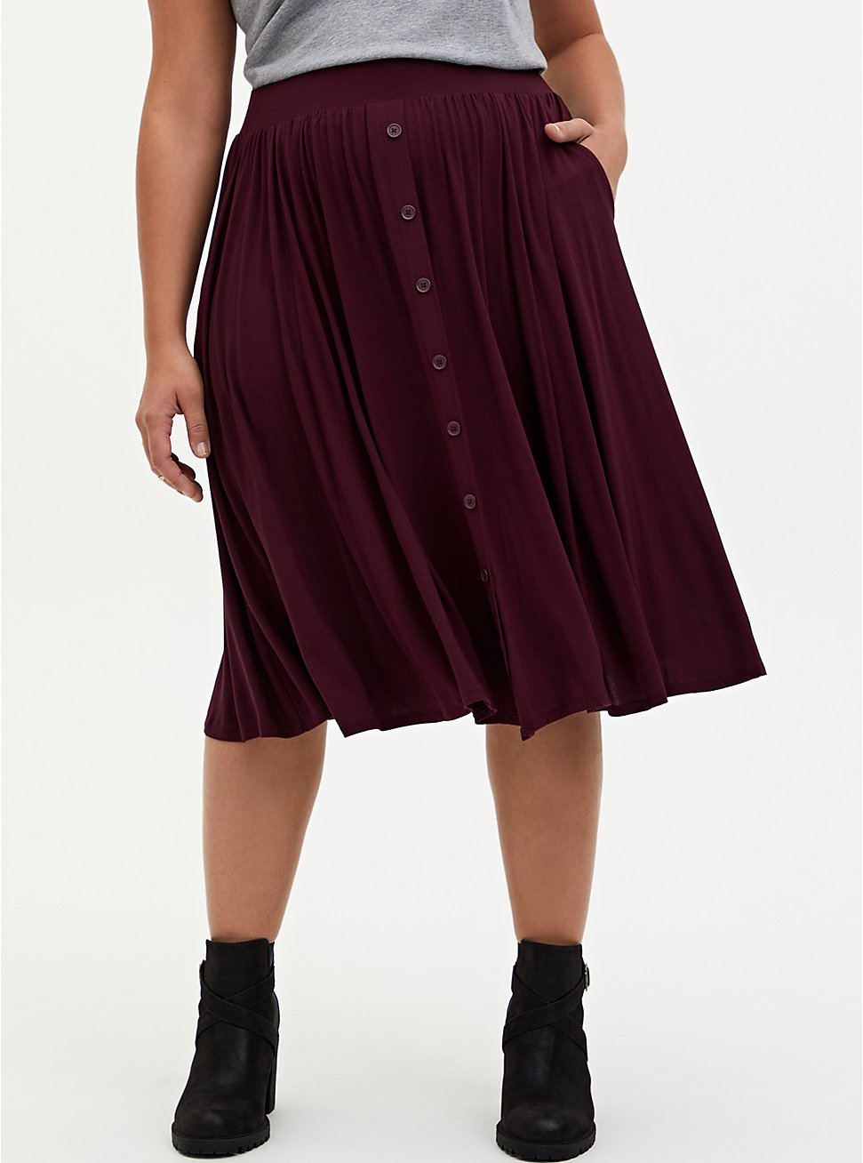 Plus Size Super Soft Burgundy Purple Button Midi Skirt , WINETASTING, hi-res