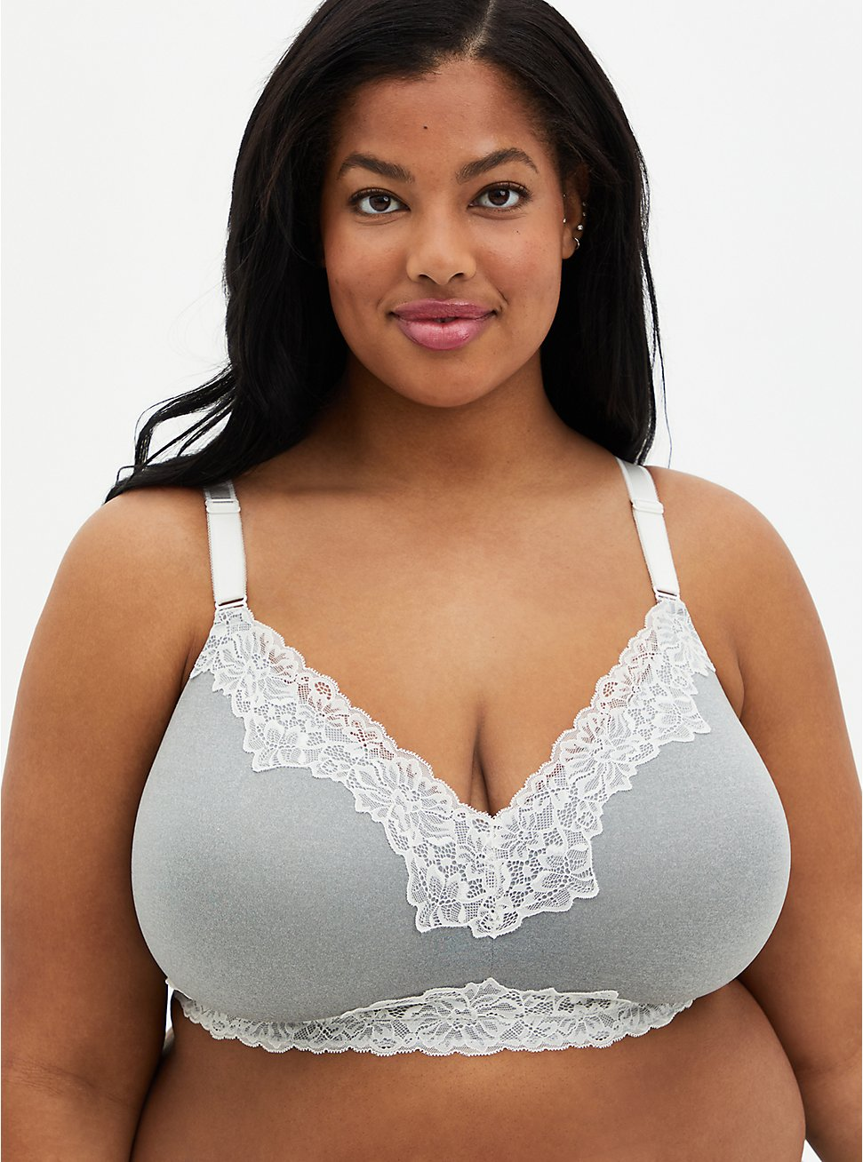 Heather Grey White Lace 360° Back Smoothing™ Lightly Lined Wire-Free Bra , HEATHER GREY, hi-res
