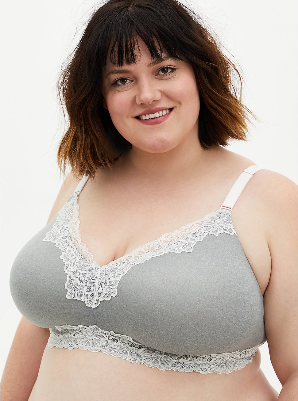 Heather Grey White Lace 360° Back Smoothing™ Lightly Lined Wire-Free Bra, , fitModel1-hires