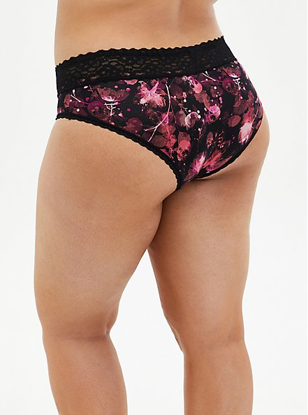 Black Floral Second Skin Hipster Panty, X RAY FLORAL RICH BLACK, alternate