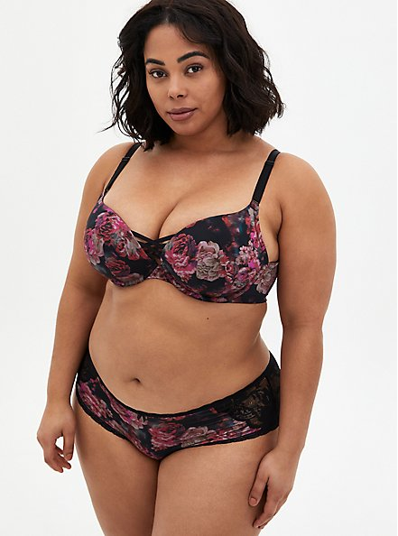 Black Floral Microfiber & Lace Lattice Hipster Panty, ROSANNE FLORAL, alternate