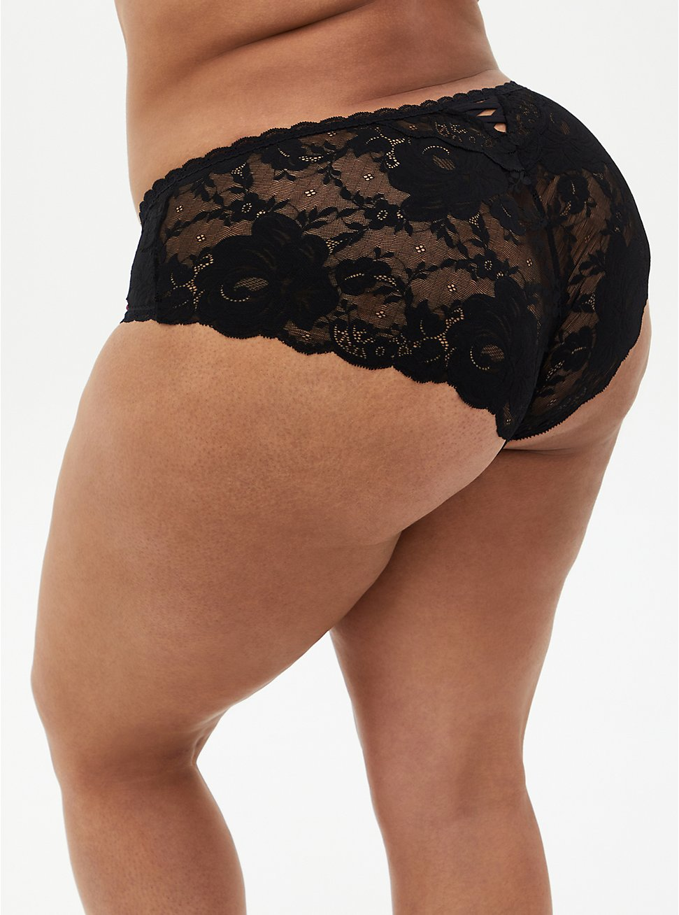 Plus Size Black Floral Microfiber & Lace Lattice Hipster Panty, ROSANNE FLORAL, hi-res