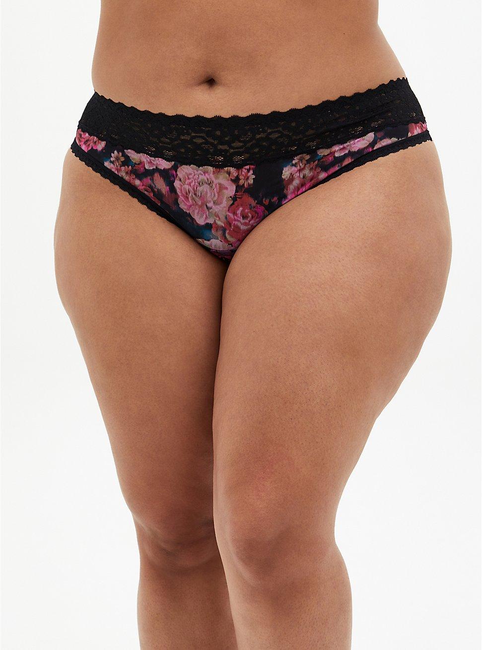 Black Floral Second Skin Thong Panty, ROSANNE FLORAL, hi-res