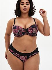 Black Floral Second Skin Brief Panty, ROSANNE FLORAL, alternate