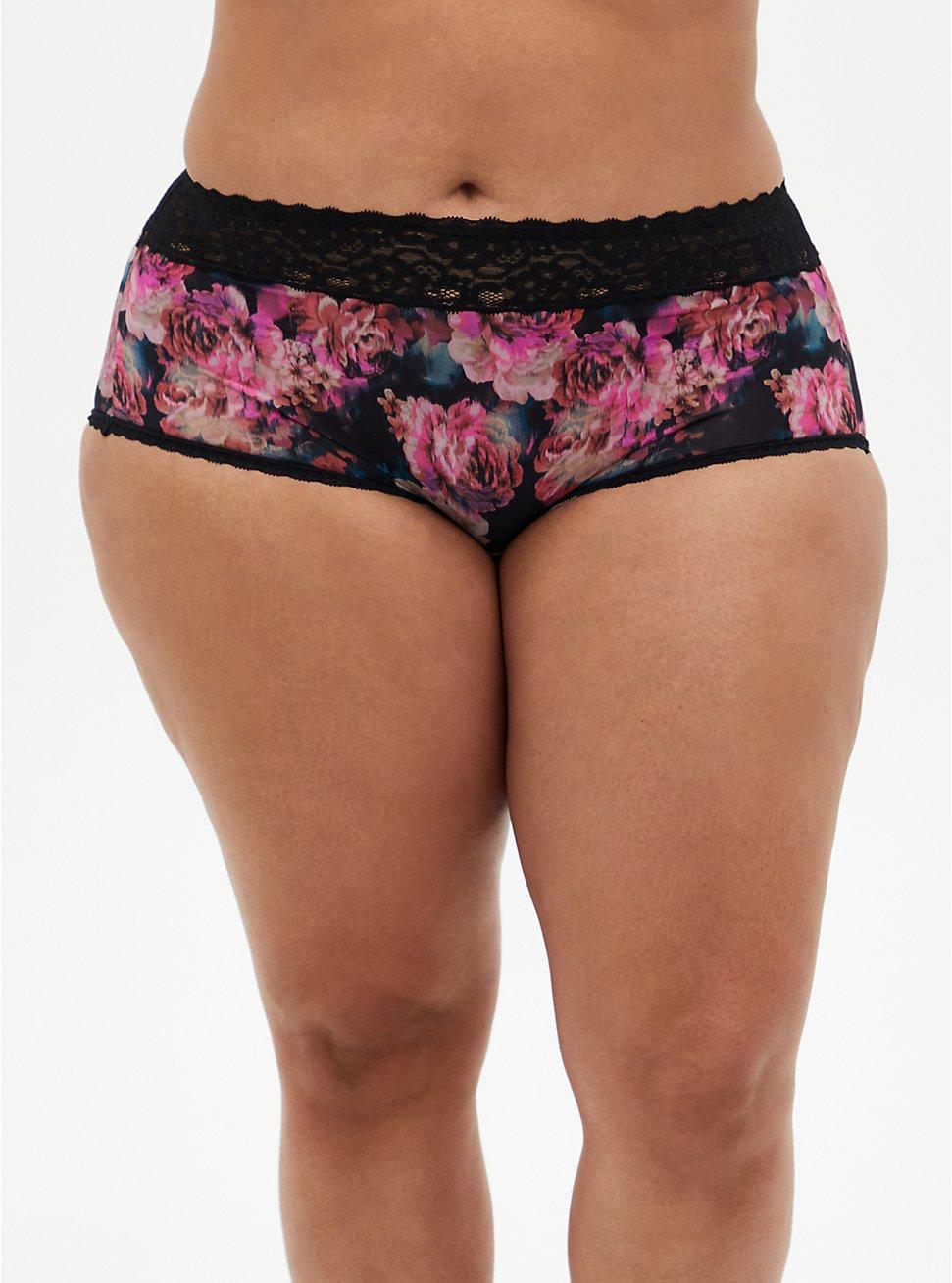 Black Floral Second Skin Brief Panty, ROSANNE FLORAL, hi-res