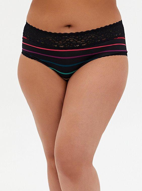 Black Stripe Second Skin Cheeky Panty, , hi-res