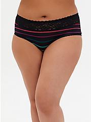 Black Stripe Second Skin Cheeky Panty, STRIPE - MULTI, hi-res