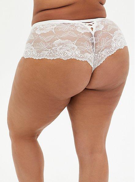 White Lace Lattice Back Cheeky Panty, CLOUD DANCER, alternate