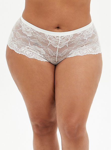 White Lace Lattice Back Cheeky Panty, CLOUD DANCER, hi-res