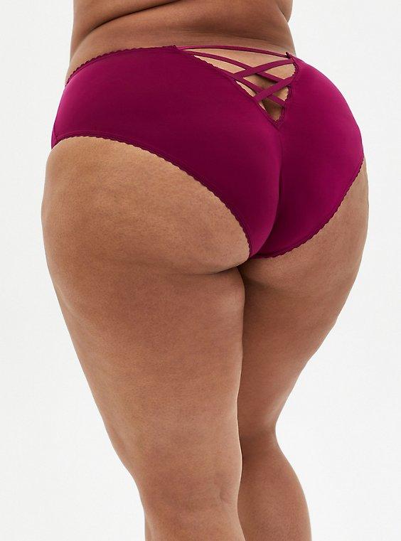Berry Pink Microfiber Cage Back Hipster Panty, NAVARRA, hi-res