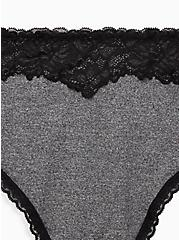 Charcoal Heather Grey Microfiber Thong Panty, CHARCOAL HEATHER, alternate