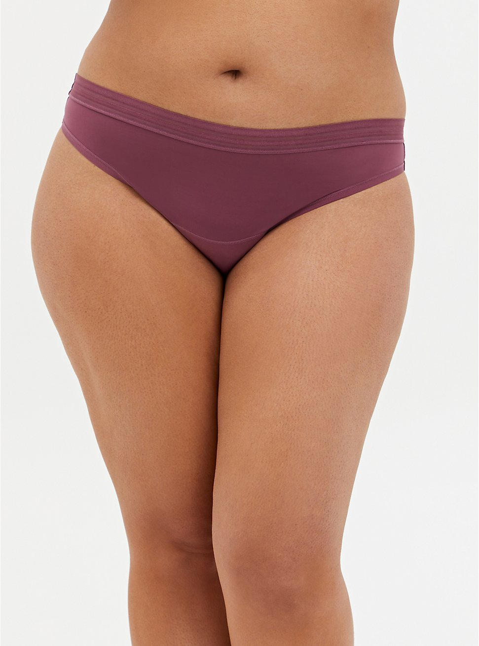 Plus Size Mauve Purple Second Skin Thong Panty, DRIED CRANBERRY BURGUNDY, hi-res