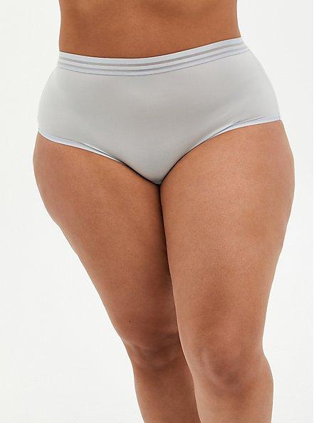 Plus Size Light Grey Second Skin Brief Panty, , hi-res